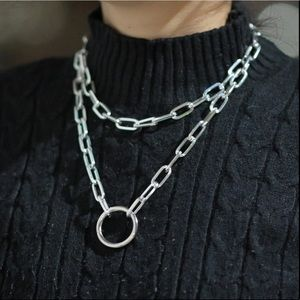 Jewelry - Silver Long Link Metal Chain Ring Necklace Jewerly